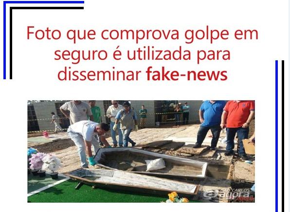 A foto mostra que dentro do caixão só havia uma pedra e travesseiro.